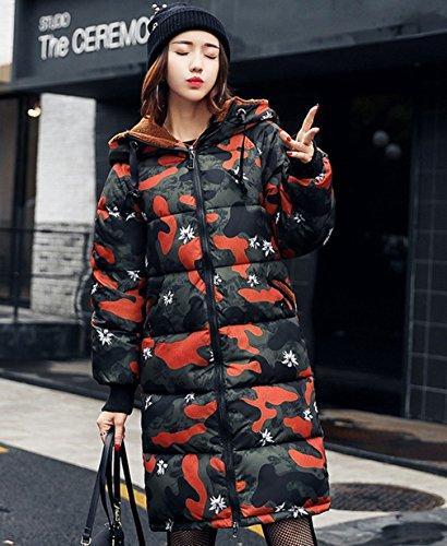 Coat Orange Women Padded Cotton Outwear COMVIP Long Wool Lamb Hood Puffer 8dvdxqTP