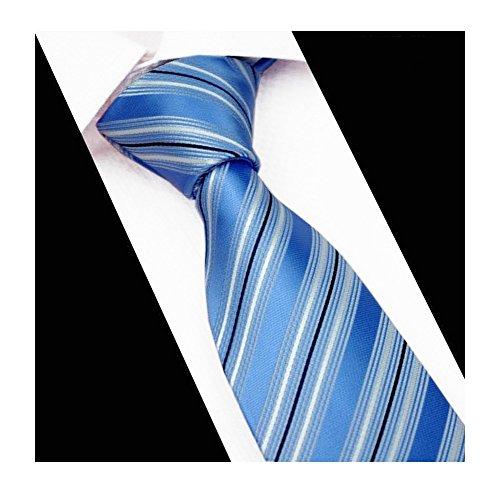 Men's Sky Blue Stripe Silk Tie Summer Necktie Best Gift for Father Boyfriend Son (Sky Blue Stripes Tie)