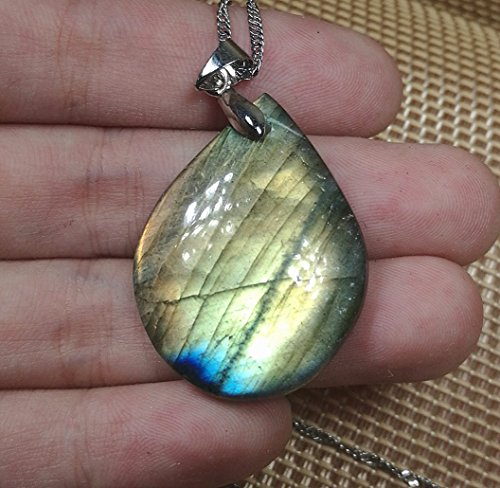 Mix-Stone 1 Pcs Beautiful Free Form Shaped Jewelry Hand Carved Gemstone Labradorite Pendant with Silver Chain, DIY for Necklace (No.28)