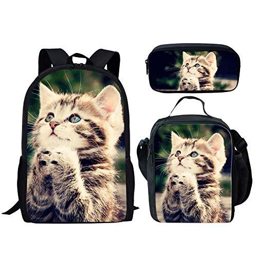 HUGS IDEA 3 Piece Children School Bag Set Pray Kitten Backpack with Lunch Box Pencil Case