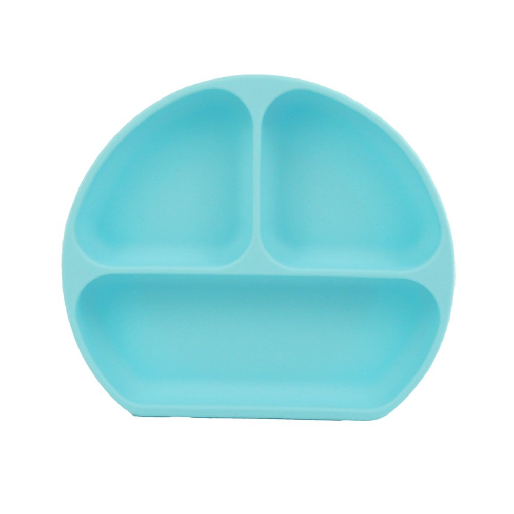 TOYMYTOY Silicone Baby Plates Divided Suction Feeding Placemats for Weaning Child (Blue)