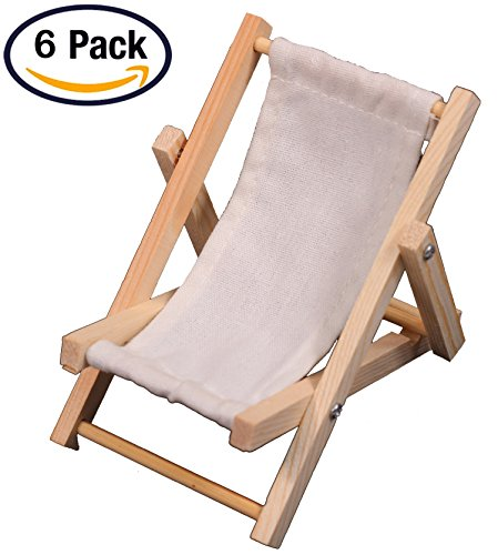 6 Mini Beach Lounge Chairs, Folding Sling Style, Wood with White Fabric - for Wedding Favors, Cake Toppers, Table Markers, Dollhouses, Fairy Gardens, Crafts and more! (Mini Beach Chair Folding)
