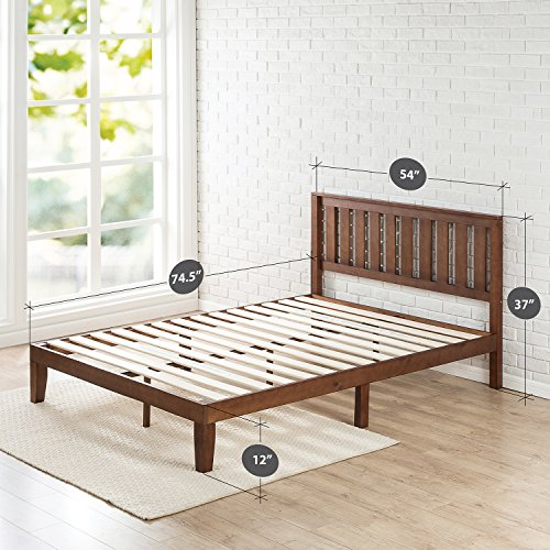 Zinus 12 Inch Wood Platform Bed with Headboard / No Box Spring Needed / Wood Slat Support / Antique Espresso Finish, Full