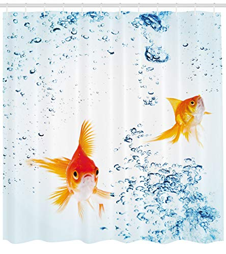 Ambesonne Aquarium Shower Curtain by Under the Aquarium Theme Cute Swimming Goldfishes with Vivid Bubbles Image Fabric Bathroom Decor Set with Hooks 70 Inches Blue Orange Yellow