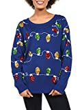 Tipsy Elves Women's Christmas Lights Sweater - Sequined Ugly Christmas Sweater: X-Large Blue