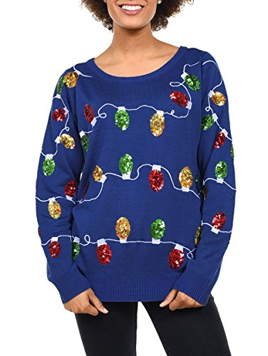 Tipsy Elves Women's Christmas Lights Sweater - Sequined Ugly Christmas Sweater: Small Blue