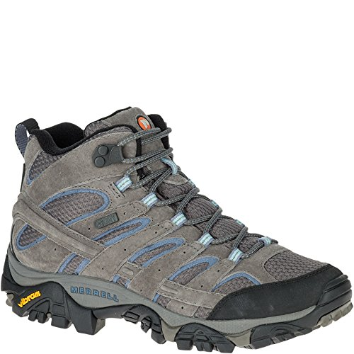 Merrell Women's Moab 2 Mid Waterproof Hiking Boot, Granite, 8 W US (Boots Women Wide Hiking)
