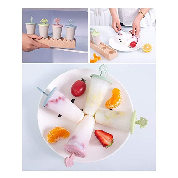 Amazon.com: DDLmax 4Pcs/Set Popsicle Molds Ice Pop Makers Ice Pop Molds Ice Bar Maker Kids Ice Cream Tray Holder Lolly Pops, Kitchen Supply, ...