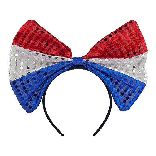 Lux Accessories Red Blue Silver Glitter American Flag Inspired Big Bow Headband]()