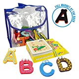 Joy Abcs | 40 Pcs Wooden Refrigerator Alphabet Letters and Numbers Magnets with Flash Card Bonus | Full Magnet at the Back and Safe Perfectly Shaped and Sized for Kids Toddler | Packed in a Tote Bag