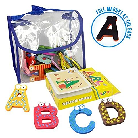 Joy Abc's | 40 Pcs Wooden Refrigerator Alphabet Letters and Numbers Magnets with Flash Card Bonus | Full Magnet at the Back and Safe Perfectly Shaped and Sized for Kids Toddler | Packed in a Tote - Felt Tip Font