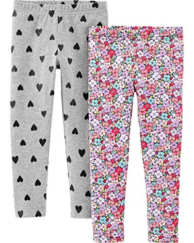 Carter's Girls' Little 2-Pack Leggings, Floral/Hearts, 7