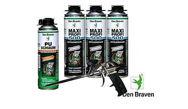 Den Braven Set profesional 3 x Maxi profesional 1 KB2 de - Pistola de espuma de 500 ml pared ventana de juntas hohlräume Mantas + 1 pistola de espuma de ...
