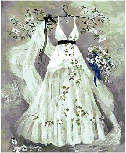 大人用の白いウェディングドレスの番号でペイントDIYの子供用キットペイントキット初心者向け3つのブラシと明るい色でのキャンバス塗装-40x50cmフレームなし