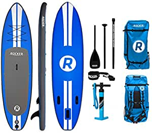 """iRocker Inflatable ALL-AROUND Stand Up Paddle Board 11' Long 32"""" Wide 6"""" Thick SUP Package (Blue)"""