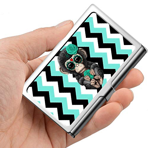 Monkey Holder Card (Professional Business Card,Stainless Steel Wallet case Credit Card ID Card Holder Sugar Skull Monkey)