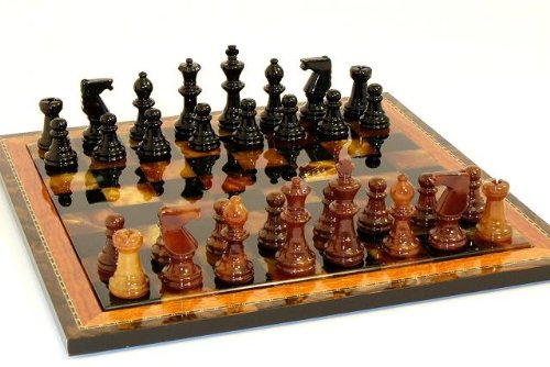 (Alabaster Wood Frame Chess Set in Black / Brown)