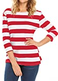 red and white shirt - Halife Women's 3/4 Sleeve Crewneck Striped T-shirt Casual Basic Shirt Tops (XXL, Red & White)