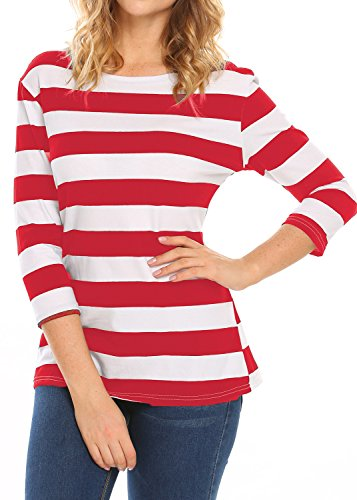 White Basic Crewneck T-shirt (Halife Women's 3/4 Sleeve Crewneck Striped T-shirt Casual Basic Shirt Tops (L, Red & White))
