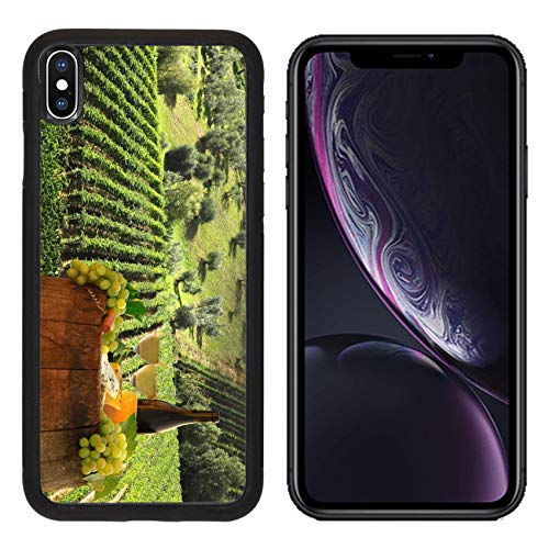 Luxlady Apple iPhone XR Case Aluminum Backplate Bumper Snap Cases Image ID: 25407509 White Wine with on Vineyard in Chianti Tuscany Italy