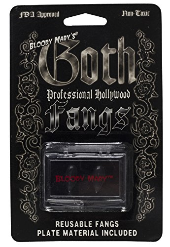 Vampire Teeth By Bloody Mary - Fake Fangs Ideal For Halloween & Theatrical Performances - Reusable With Permanent Molding Material - Special Effects Realistic Pointy Teeth (Jet Black)