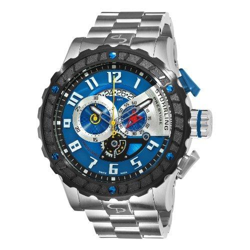 Stuhrling Prestige Men's 329.33116 Prestige Swiss Made Limited Edition  Pro Quartz Chronograph Blue Watch (Prestige Bezel Bracelet)