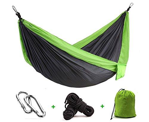 Camping Hammocks Garden Hammock Ultralight Portable Nylon Parachute Multifunctional Lightweight Hammocks for Backpacking Travel Beach Yard Green Gray