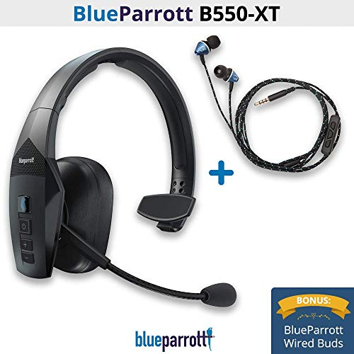 BlueParrott B550-XT Voice Controlled, Noice Canceling Wireless Headset with Wired Ear Buds