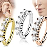 Graduation Gifts For Women - YouMiYa 3pcs CZ Gem Split Nose Cartilage Piercing Rings Zircon Nasal Ring Body Piercing JewelryBest for Nose and Ear Piercing