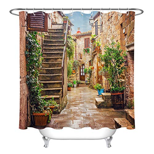 - youyoutang Alley in Old Town Pitigliano Tuscany Italy Shower Curtain Set Waterproof Fabric 3D High-Definition Printing Does Not Fade 12 Shower Hooks 70.8X70.8 Inch Home Decor Bathroom Accessories
