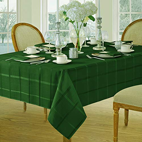 Green Woven Fabric - Newbridge Elegance Plaid Christmas Fabric Tablecloth, 100% Polyester, No Iron, Soil Resistant Holiday Tablecloth, 60 Inch x 84 Inch Oblong/Rectangle, Hunter Green
