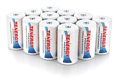 12 pcs of Premium D Size 10,000mAh High Capacity High Rate NiMH Rechargeable Batteries