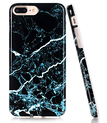 Black Teal Marble Design, BAISRKE Glossy Flexible Soft Silicone Bumper Shockproof Cover for Apple iPhone 8 Plus & iPhone 7 Plus 5.5 inch ()