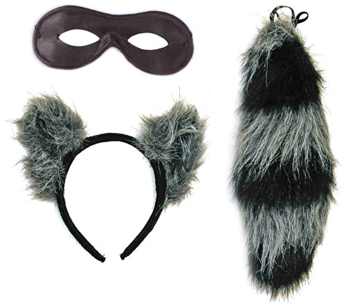 Forum Novelties Women's Adult Raccoon Ears and Tail with Mask, Multi Colored, One Size ()