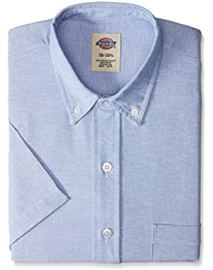 SS46LB Polyester/ Cotton Men's Button-Down Short Sleeve Oxford Shirt, Light Blue