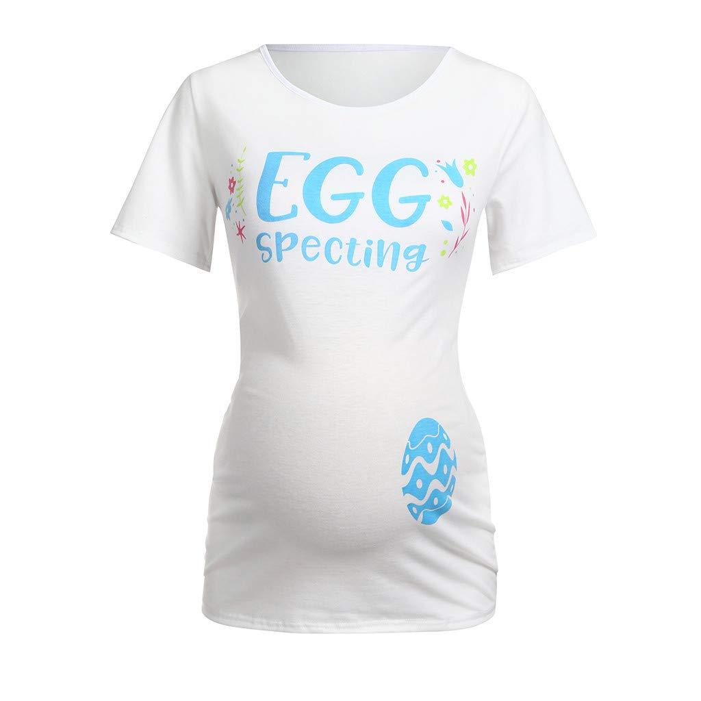 Lenfesh Umstandsmode Damen Sommer Kurzarm Schwangerschaft Ostern Frauen Mutterschaft Kurzarm Cartoon Ei Tops T-Shirt Schwangerschaft Kleidung Tops