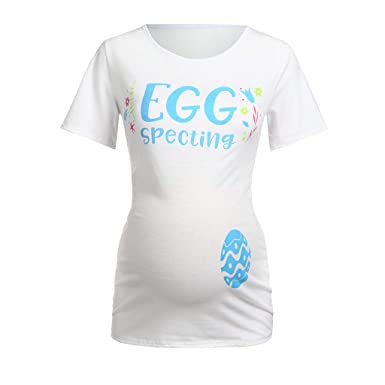 122afcc8e EGGspecting Funny T Shirts Pregnancy Shirts to Announce Novelty Maternity  Shirt at Amazon Women's Clothing store: