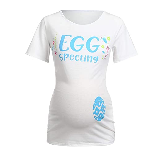 890c9bf1b963 Riverdalin Women Maternity Easter Blouse Pregnancy Letter Print Nursing  Breastfeeding T-Shirts Tops For Easter
