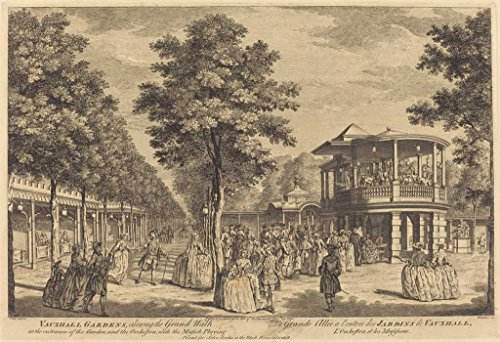 Fine Art Print | Vauxhall Gardens shewing the Grand Walk at the Entrance of the Garden and the Orchestra with Musick Playing 1751 | Johann Sebastian Mller | Decor Poster Reproduction | 12in x 08in