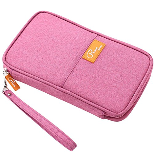 FLYMEI Multifunctional Travel wallet with Hand Strap - Passport Wallet Passport holder Travel Organizer Wallet for Card Money Ticket Mobile - Pink (Train Ticket Pouch)