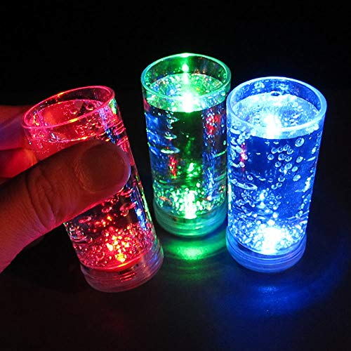 Light Up Glowing Shooter Glasses (Set of 12) - Light Up LED Shot Glasses - Assorted Color Mix in Red, Blue and Green -