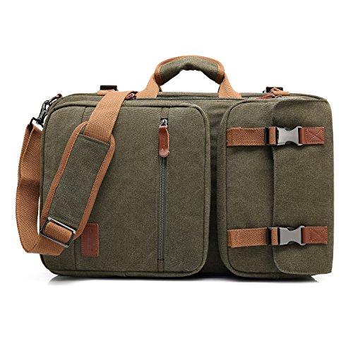 CoolBELL Convertible Briefcase Backpack Messenger Bag Shoulder Bag Laptop Case Business Briefcase Travel Rucksack Multi-Functional Handbag Fits 17.3 Inch Laptop for Men/Women (Canvas Green) Briefcase Green Laptop Case
