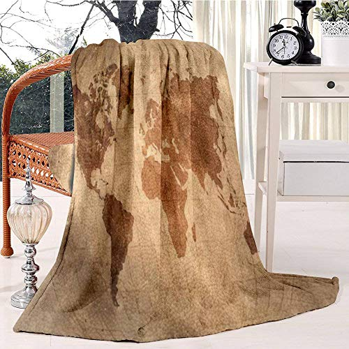 world map with Latitude and Longitude lines on vintage leather skin Plush Throw Blanket Soft Receiving Blanket Bed Throws Christmas Sofa Shawl Blanket Kid Nursery Emergency Blanket for Living Room (Reading Latitude And Longitude On A Map)