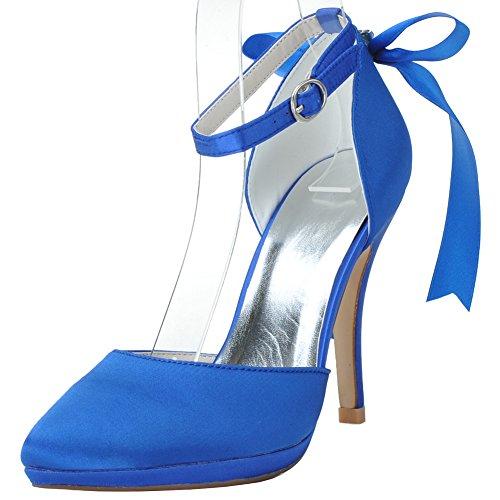 Loslandifen Scarpe Da Sposa Con Tacco Alto E Fiocco In Raso Con Cinturino Alla Caviglia E Fiocco Blu