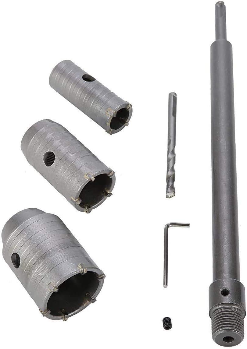 30 40 50 mm SDS Plus vástago punta de carburo broca para sierra de corona + cortador de eje, broca de pared para ladrillo, piedra de hormigón, cemento con llave