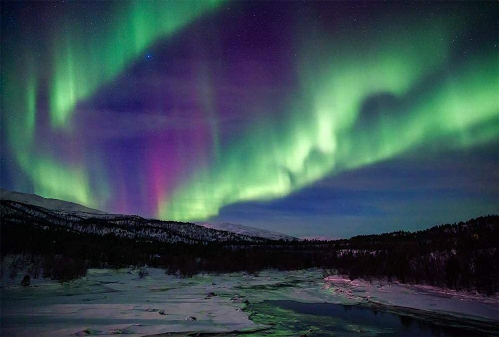 HCFFCH Paint by Numbers Kits Canvas DIY Northern Lights Sky Star Kits Framelessless 16x20Inch
