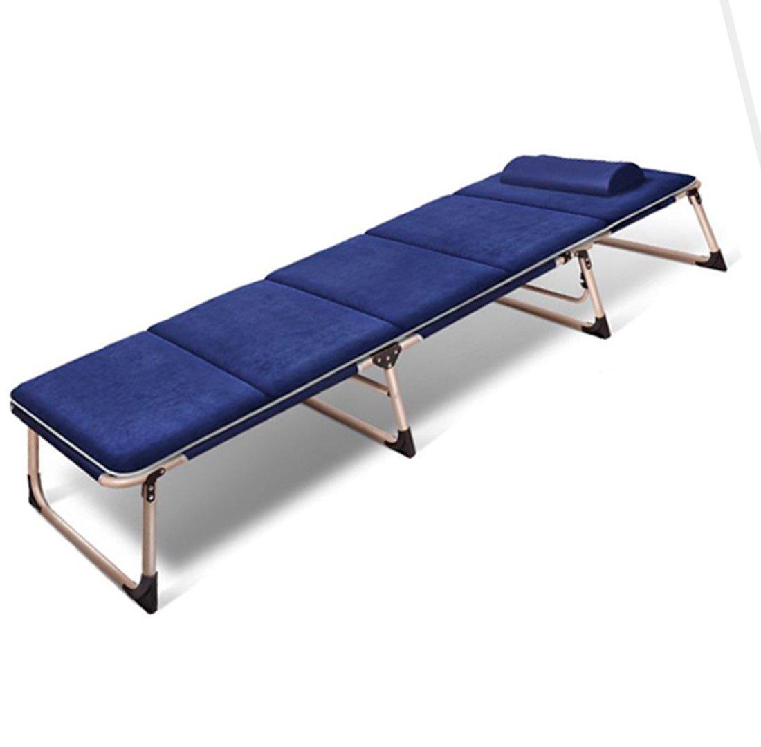 JJY Dreifachbett Runde Rohr Plus Baumwolle Erweiterung Verstärkung Klappbett Einzigen Klappstuhl Mittagspause Sessel Outdoor Stahlrohr (Vier Füße),Navy
