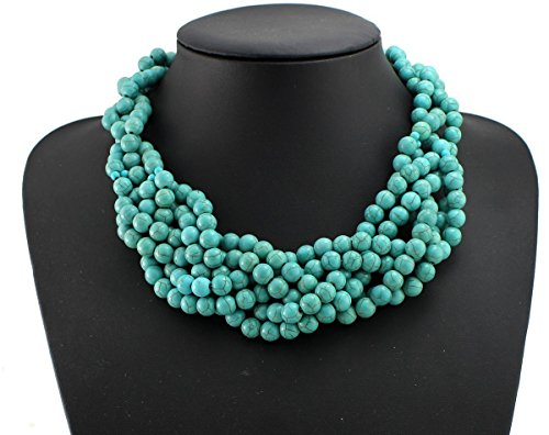 - Hand-Woven Turquoise Stone Beaded Necklace Turquoise Necklace Statement Necklace Bib Necklace