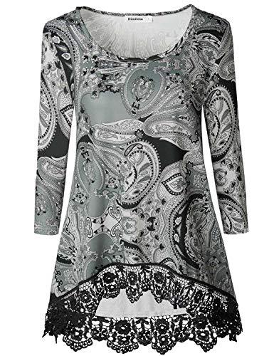 (Dimildm Floral Tunics for Women, 3/4 Sleeve Crew Neck Paisley Flowy Swing Office Tunic Tops Flower T Shirt with Crochet Lace Hem (Grey)