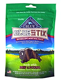 Blue Buffalo Blue Stix Soft-Moist Dog Treats Varity Pack - 4 Different Flavors (Beef & Potato, Lamb & Apples, Salmon & Potato, and Chicken & Brown Rice) - 6 Ounces Each (4 Total Pouches)